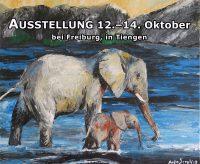 AUSSTELLUNG 12.–14. Oktober 2018 der Mayday-Elefanten-Gemälde von Anja Semling